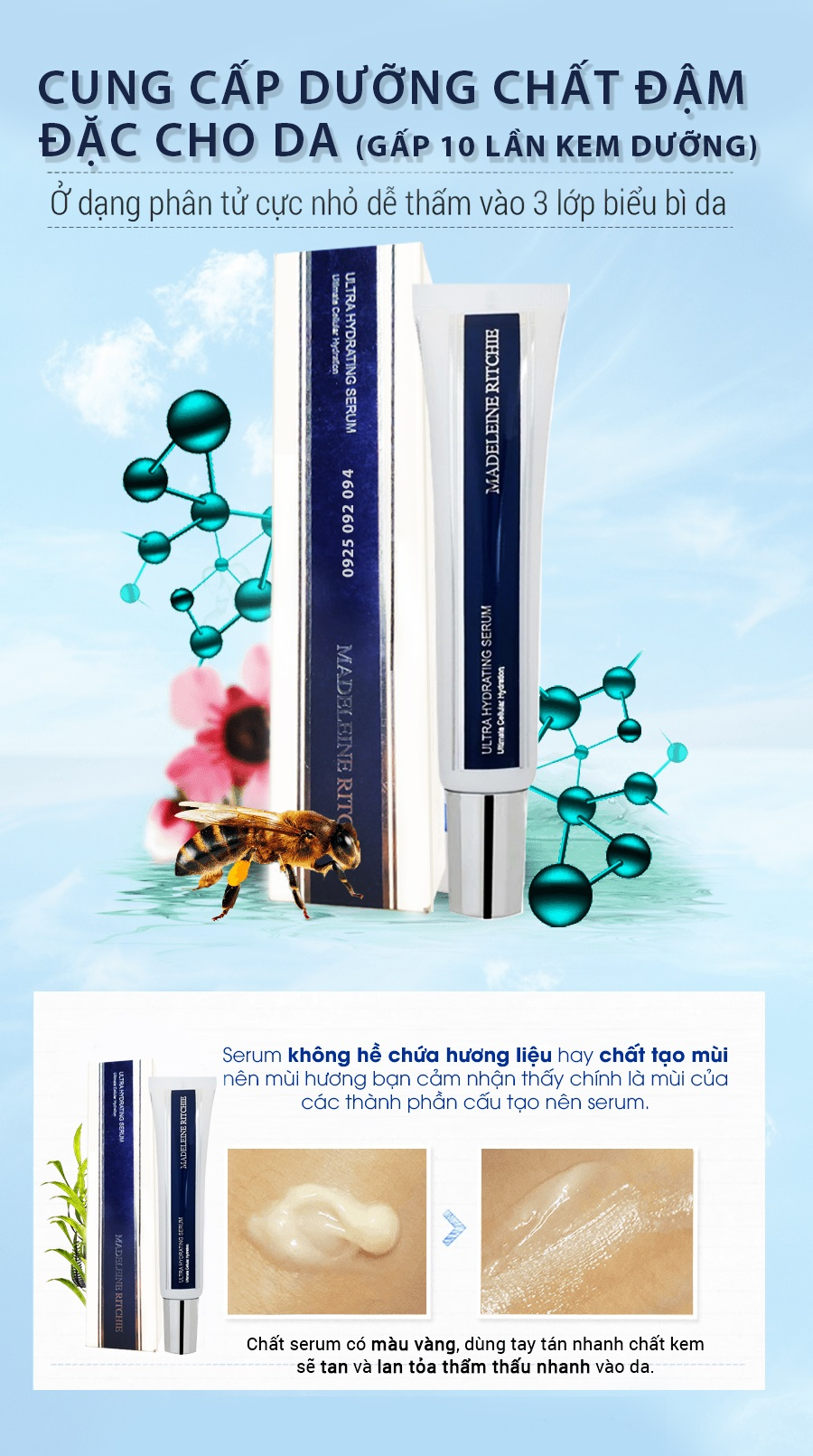Serum siêu cấp nước, dưỡng ẩm, chống lão hóa từ mật ong Manuka và Sữa ong chúa: Ultra Hydrating Serum