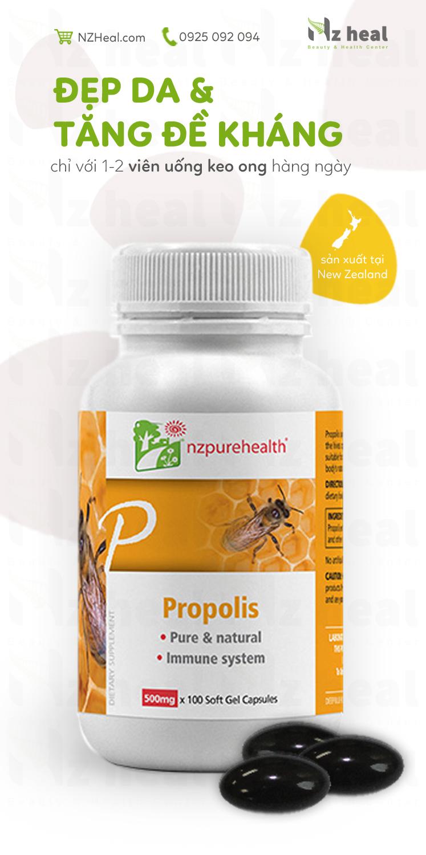 Viên Uống Keo Ong Tăng Đề Kháng Propolis NzPureHealth 100 Viên