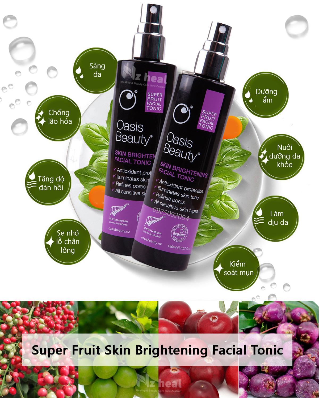 Xịt dưỡng trắng da, chống lão hóa Super Fruit Skin Brightening Facial Tonic