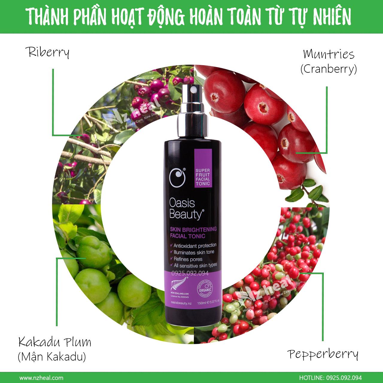 Xịt trắng da, chống lão hóa Super Fruit Skin Brightening Facial Tonic -Thành phần