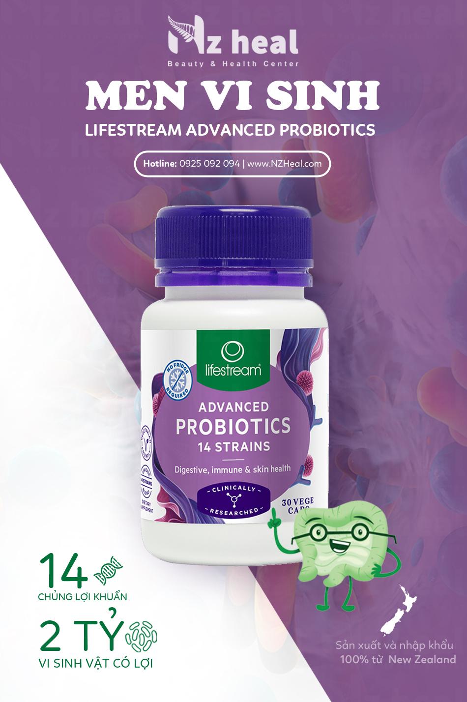 Viên uống men vi sinh Lifestream Advanced Probiotic hỗ trợ tiêu hóa