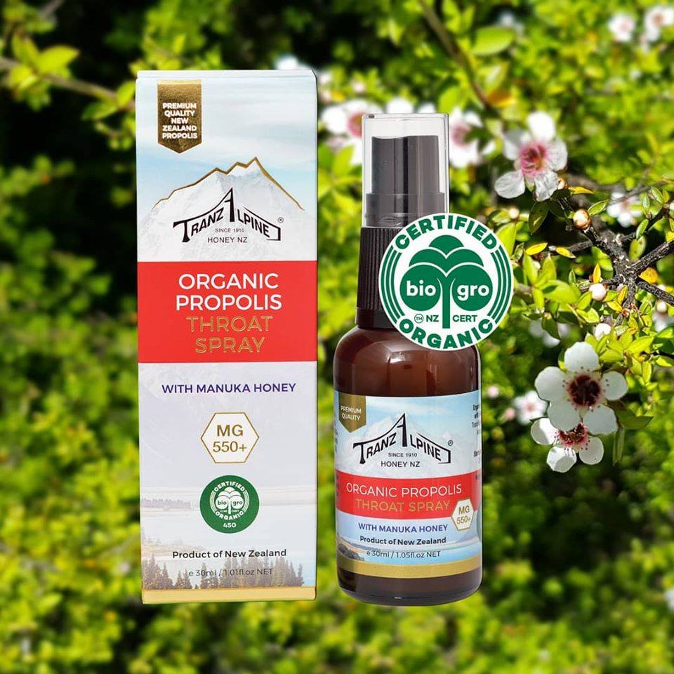 Xịt keo ong Organic Propolis Throat Spray with Manuka Honey MG550+ 6