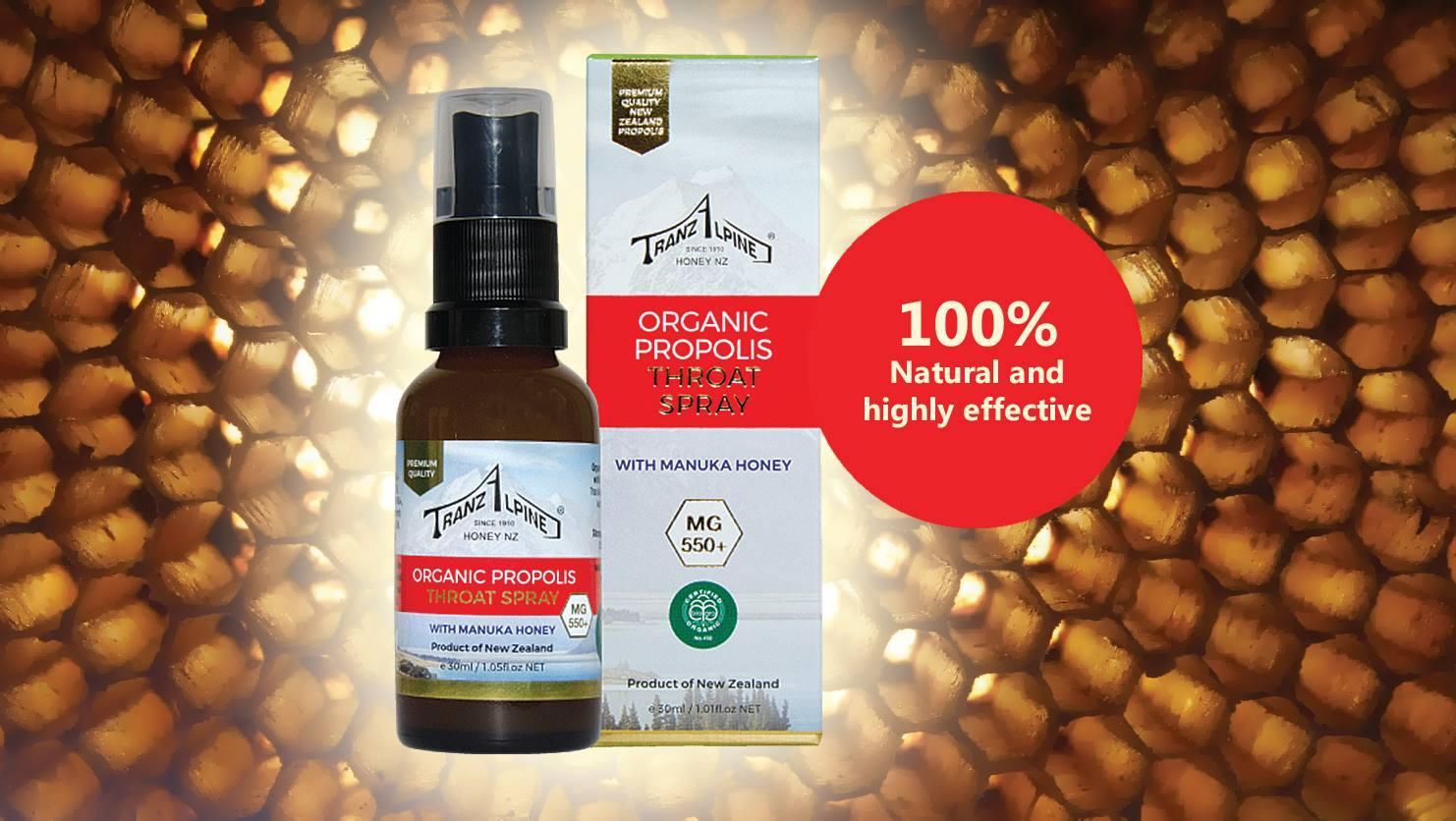 Xịt keo ong Organic Propolis Throat Spray with Manuka Honey MG550+