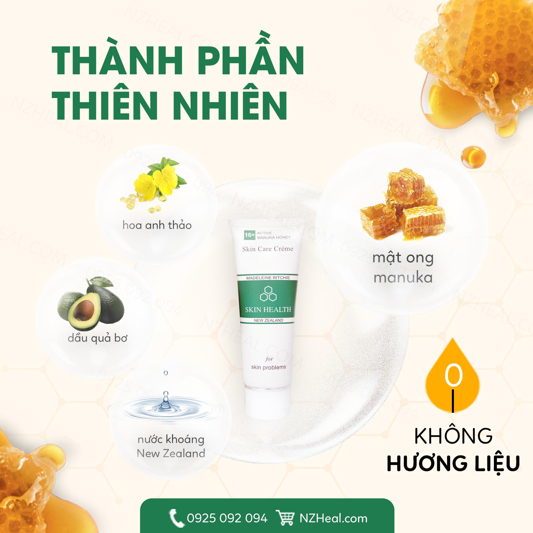 Kem mật ong Manuka Skin Health Madeleine Ritchie - Giải pháp Kháng viêm & Tái tạo da sau nhiễm Corticoid
